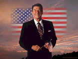 Ronald Reagan with US flag
